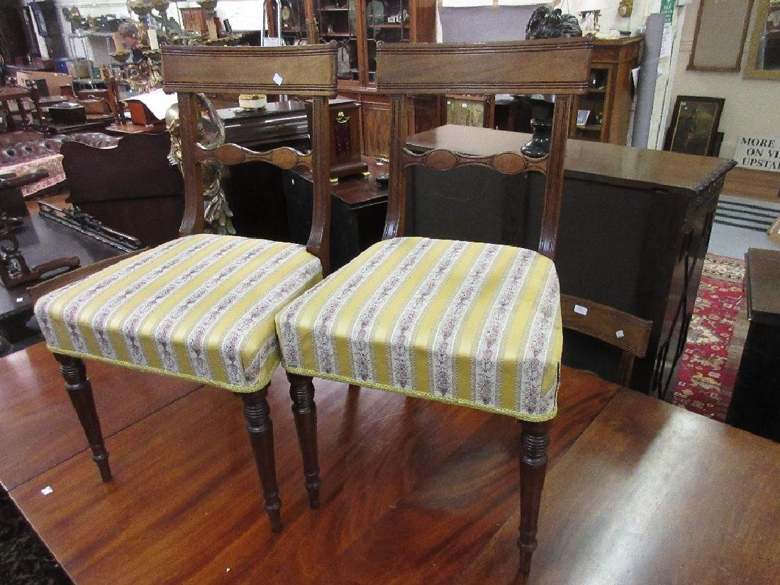 Set of six George IV mahogany dining chairs, the reeded
