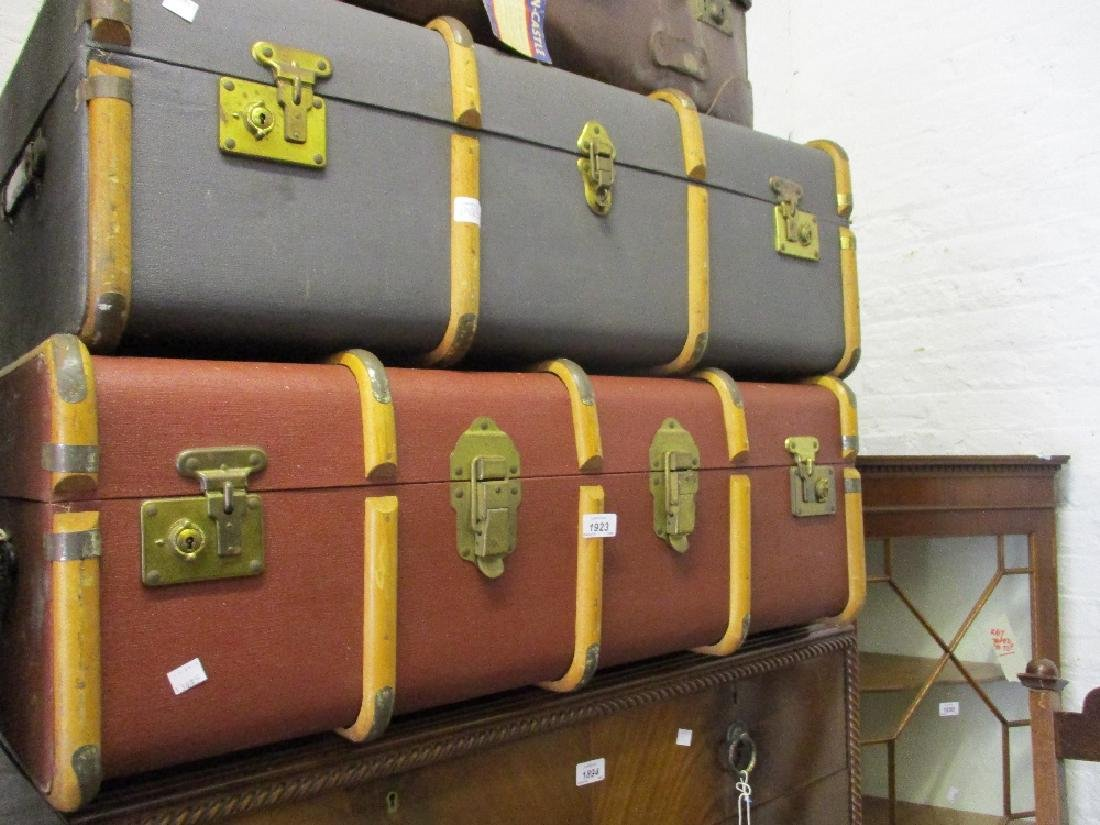 Two mid 20th Century wooden bound travelling trunks