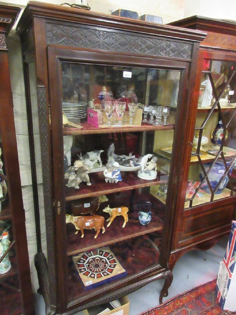 Edwardian mahogany blind fretted display cabinet, the