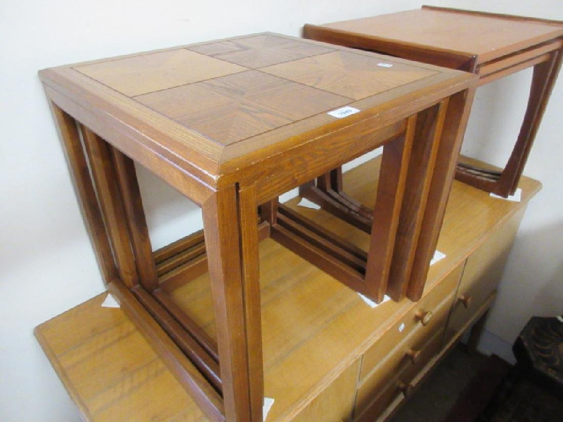 G Plan nest of three parquetry topped coffee tables