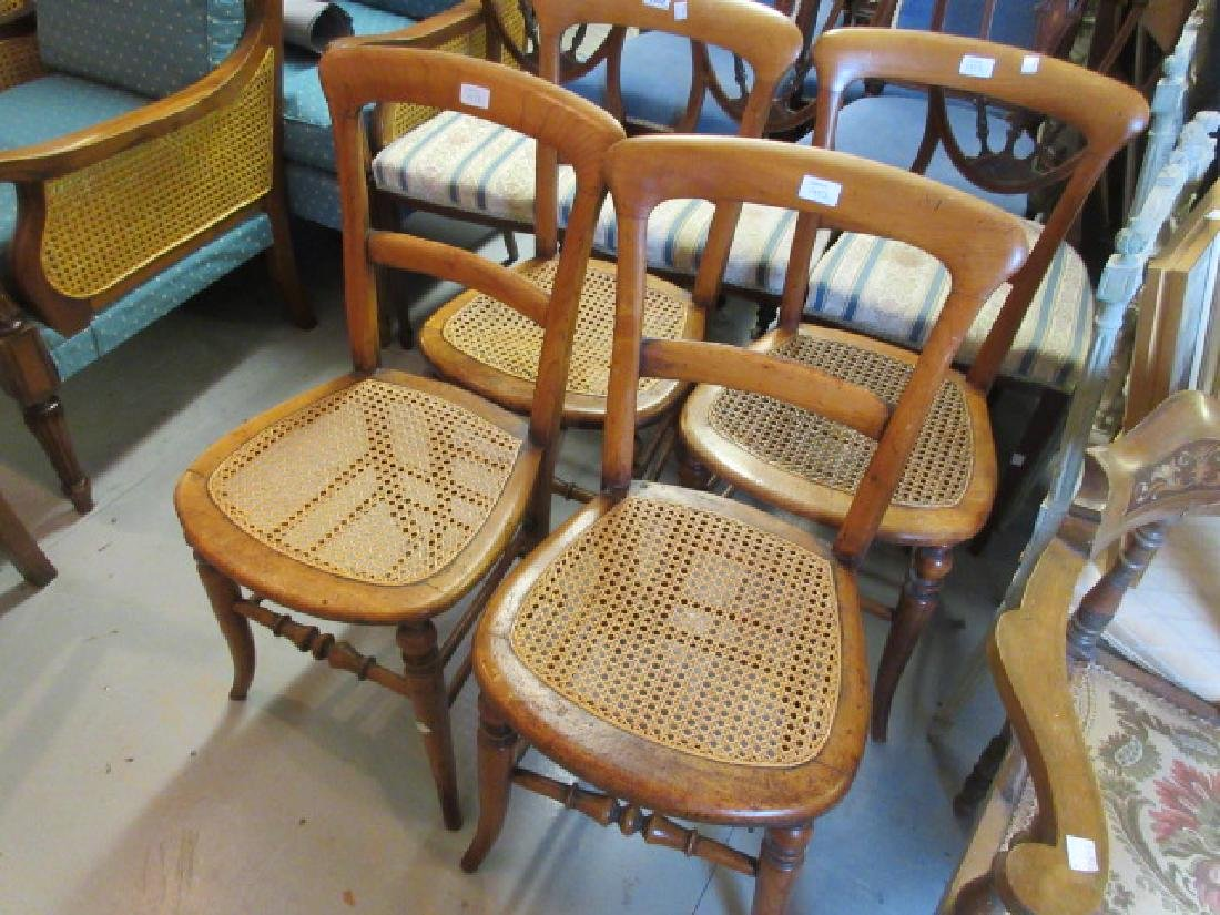 Set of four 19th Century balloon back cane seated side