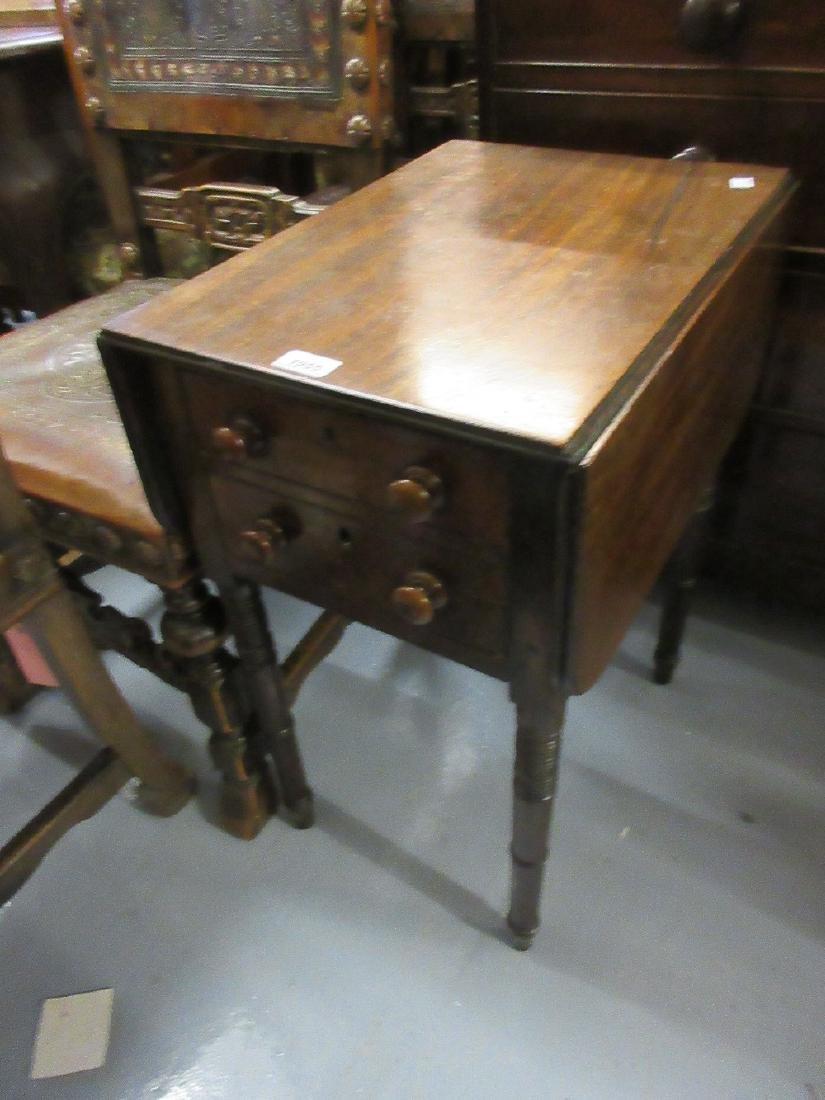 19th Century mahogany drop-leaf work table having two