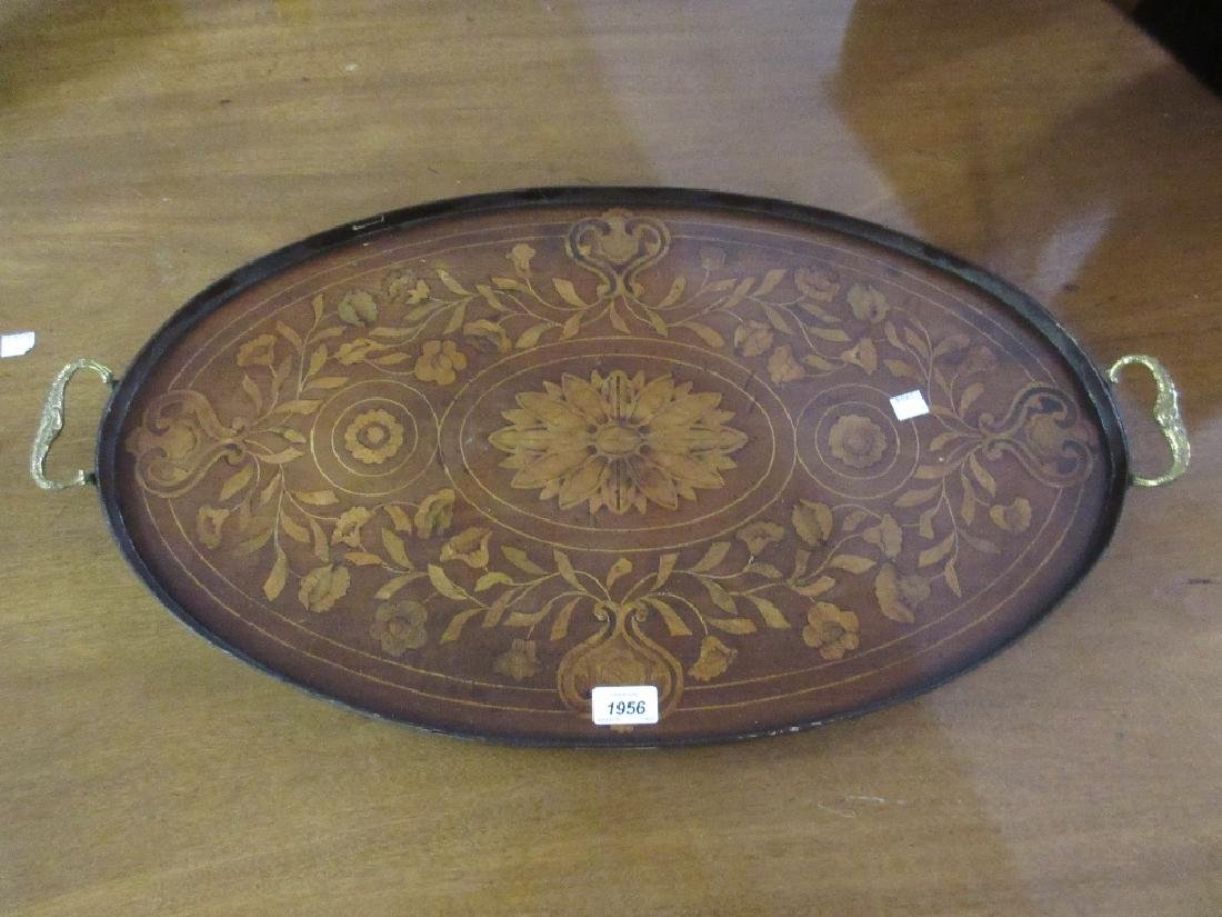 Oval floral inlaid two handled drinks tray