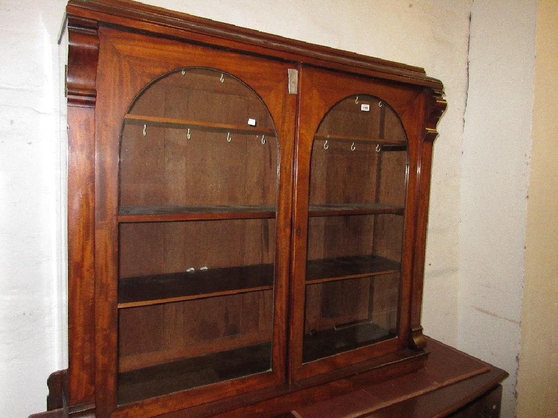 19th Century mahogany bookcase top with two arched