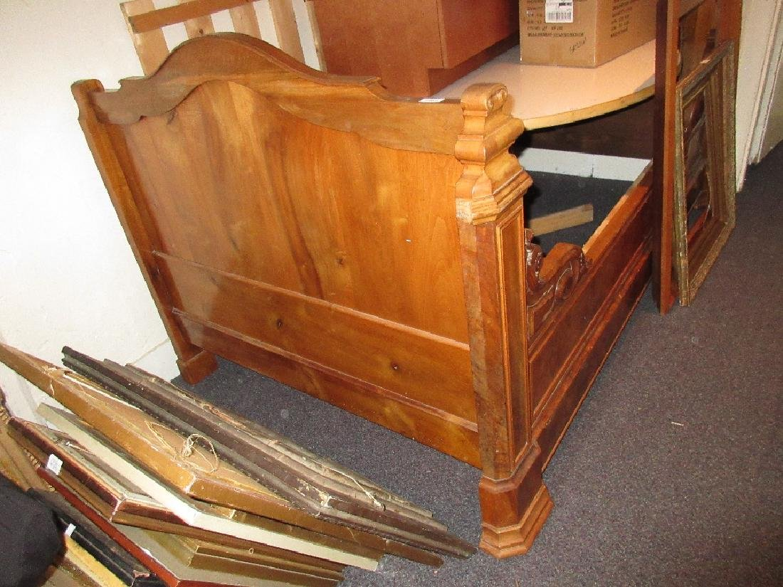 Late 19th Century burr walnut sleigh type double bed