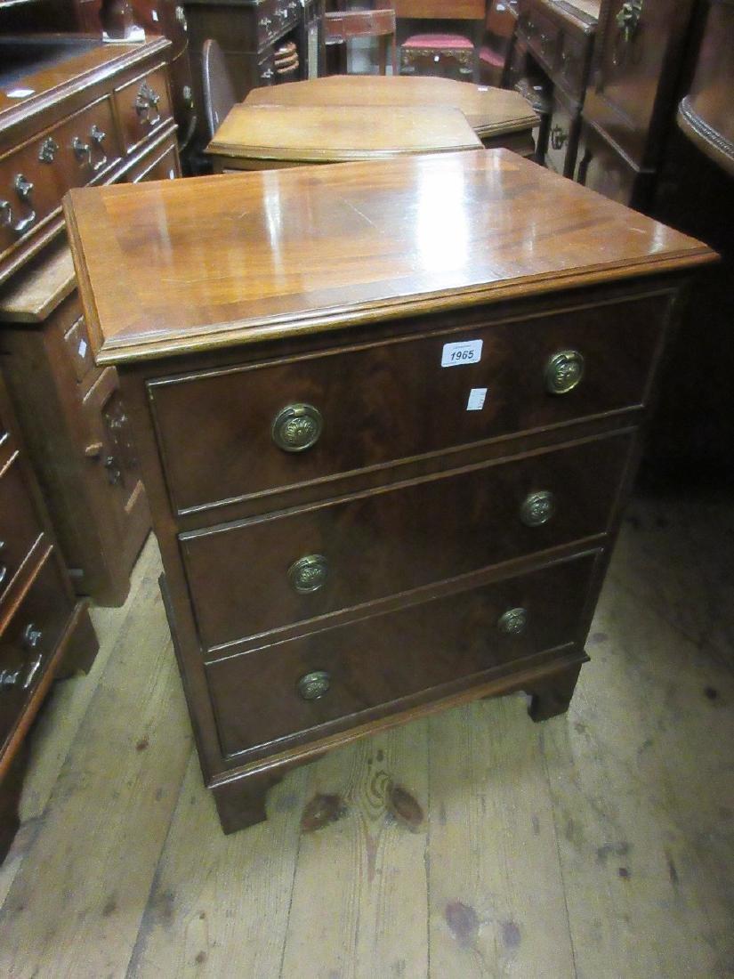 Reproduction mahogany three drawer bedroom chest