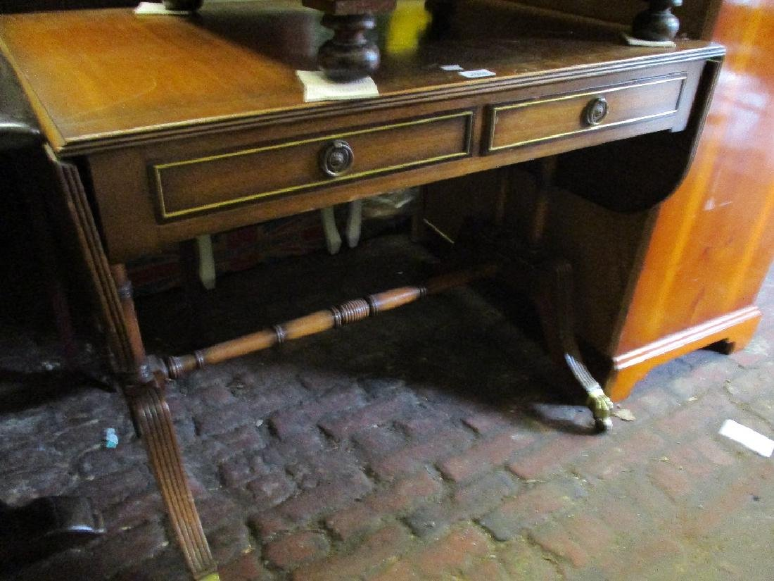 Reproduction mahogany brass inlaid drop-leaf sofa table