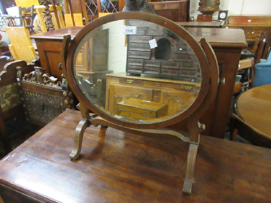 Mahogany inlaid oval swing frame dressing table mirror