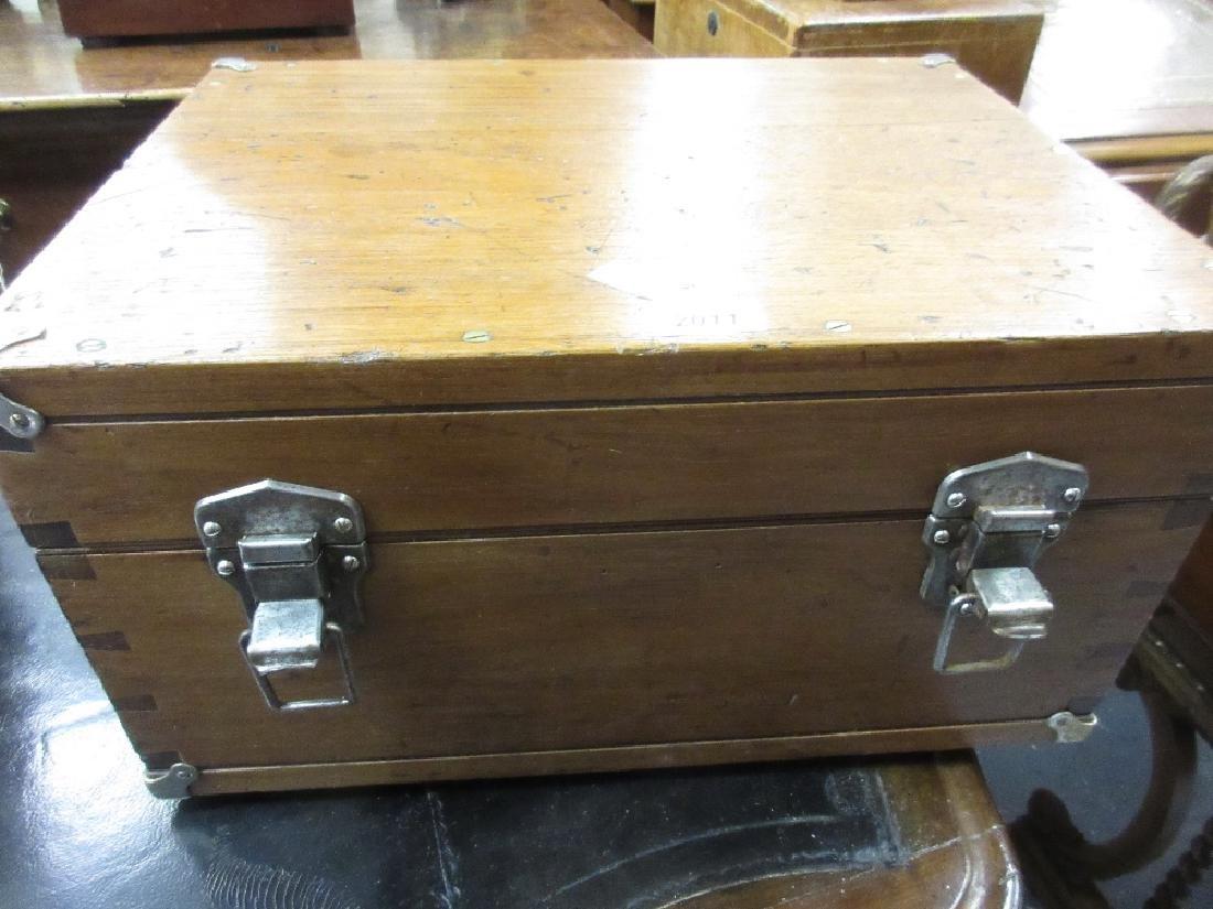 Rectangular teak and metal mounted instrument box