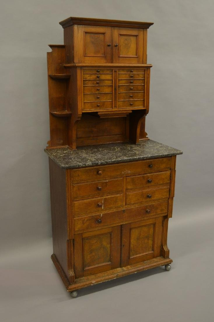 19th Century walnut dentist's cabinet, the top section
