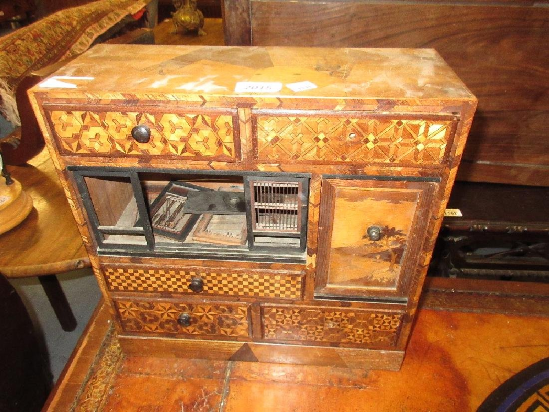 Oriental parquetry inlaid table top side cabinet having