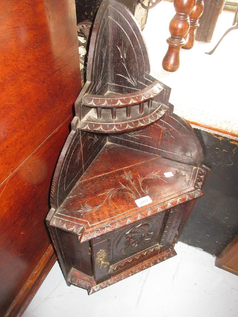 Small Victorian carved oak hanging corner cabinet