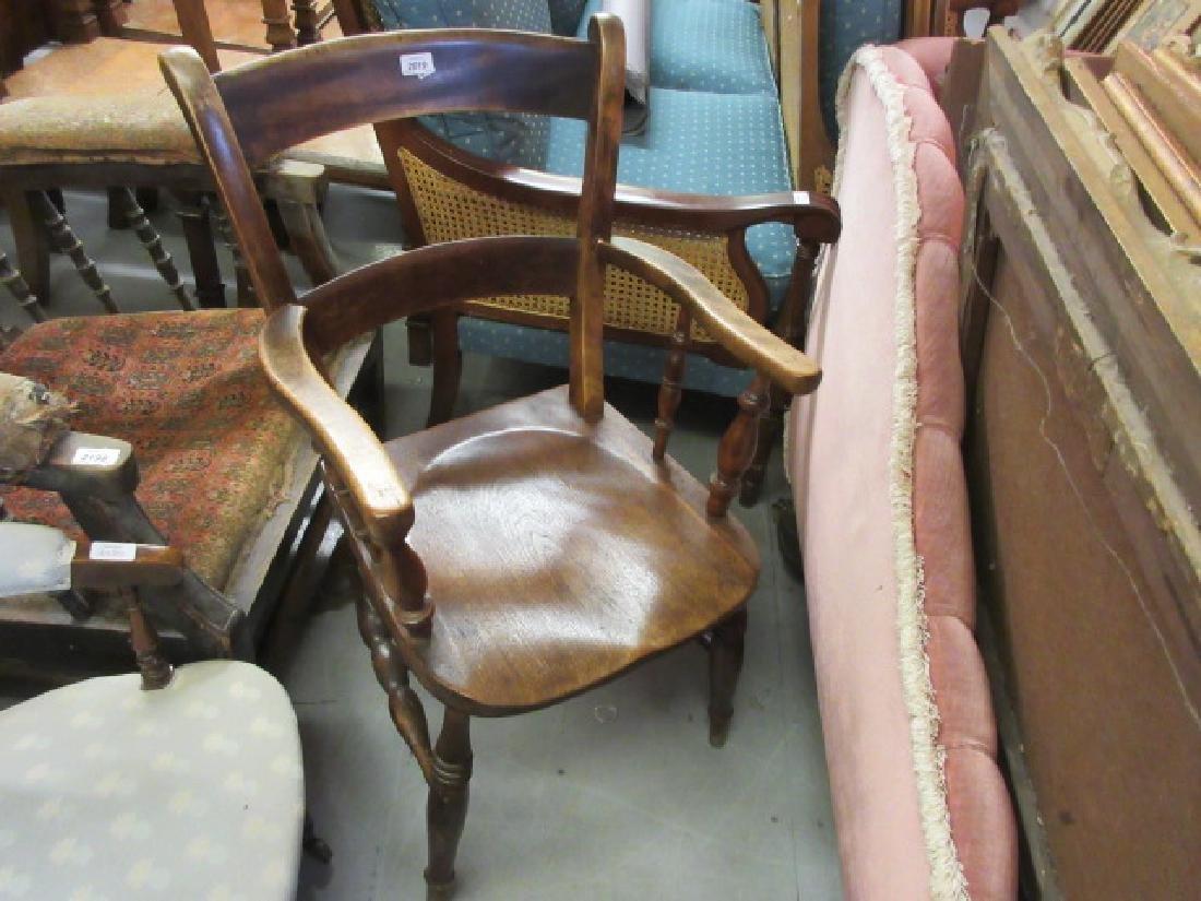 19th Century elm railback open armchair on turned