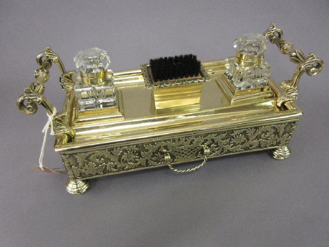 Good quality 19th Century brass two bottle inkstand