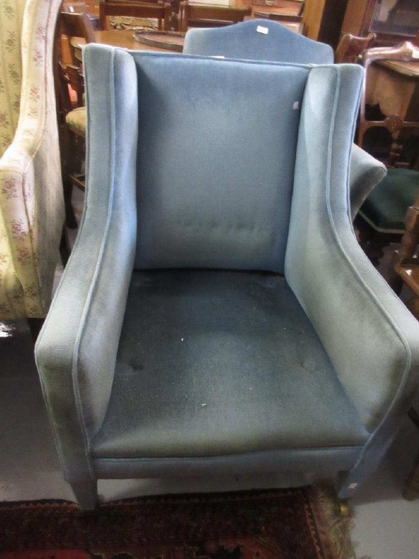Small Edwardian blue upholstered square tub chair