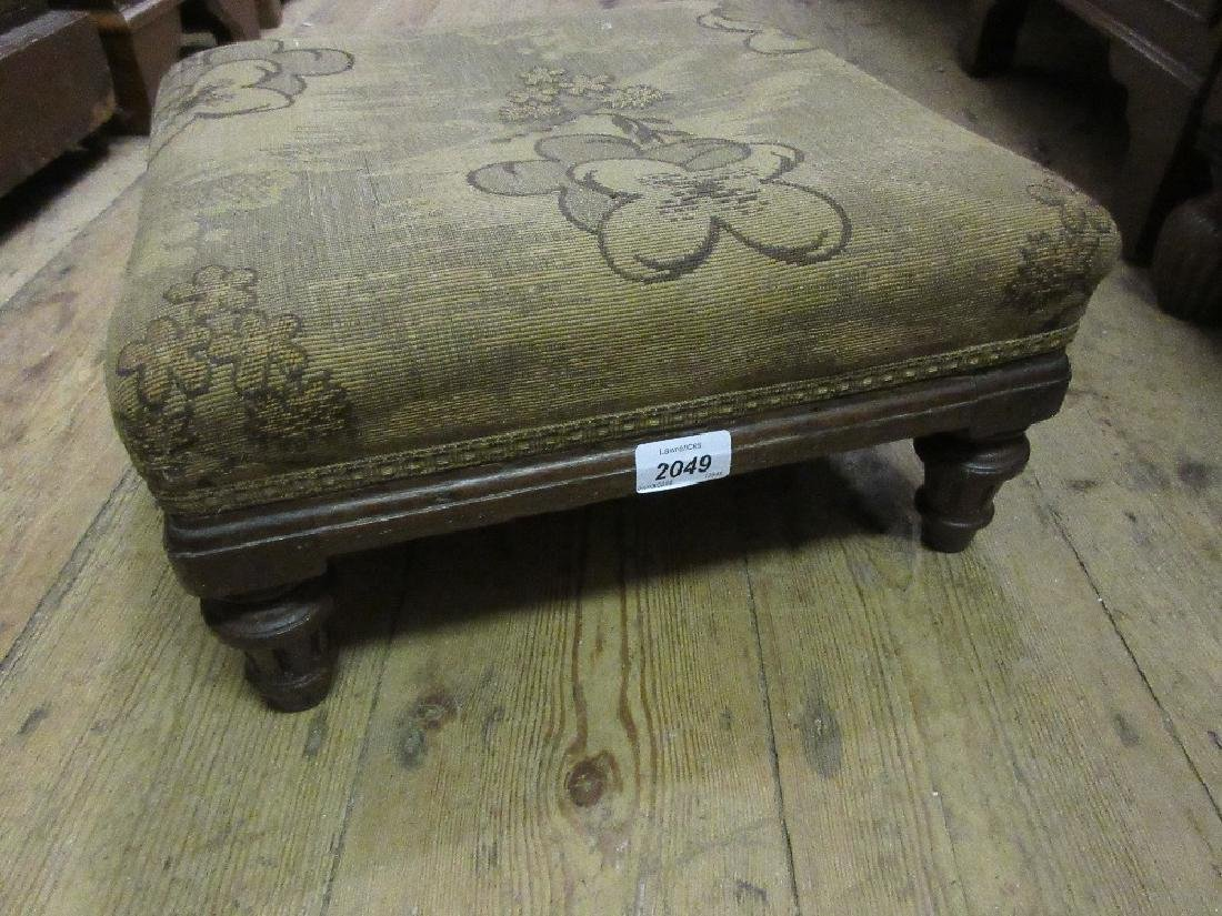 Small Victorian oak footstool on turned supports and an