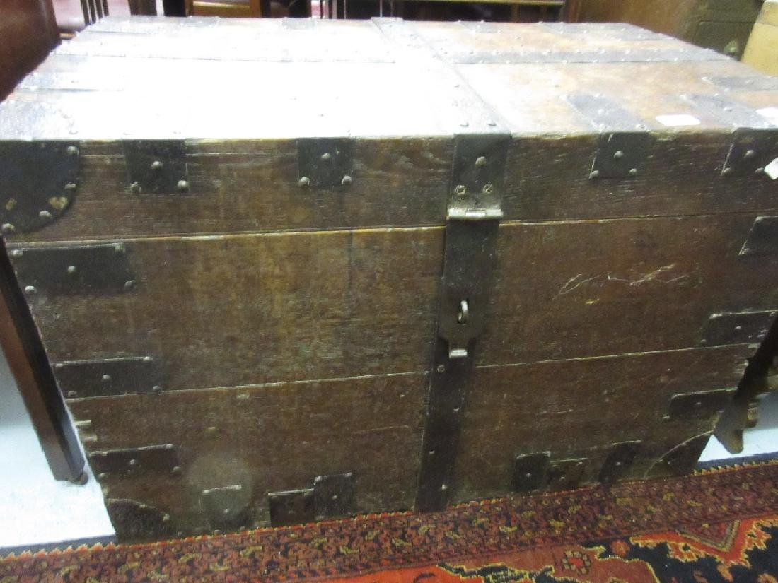 19th Century oak and iron bound silver chest