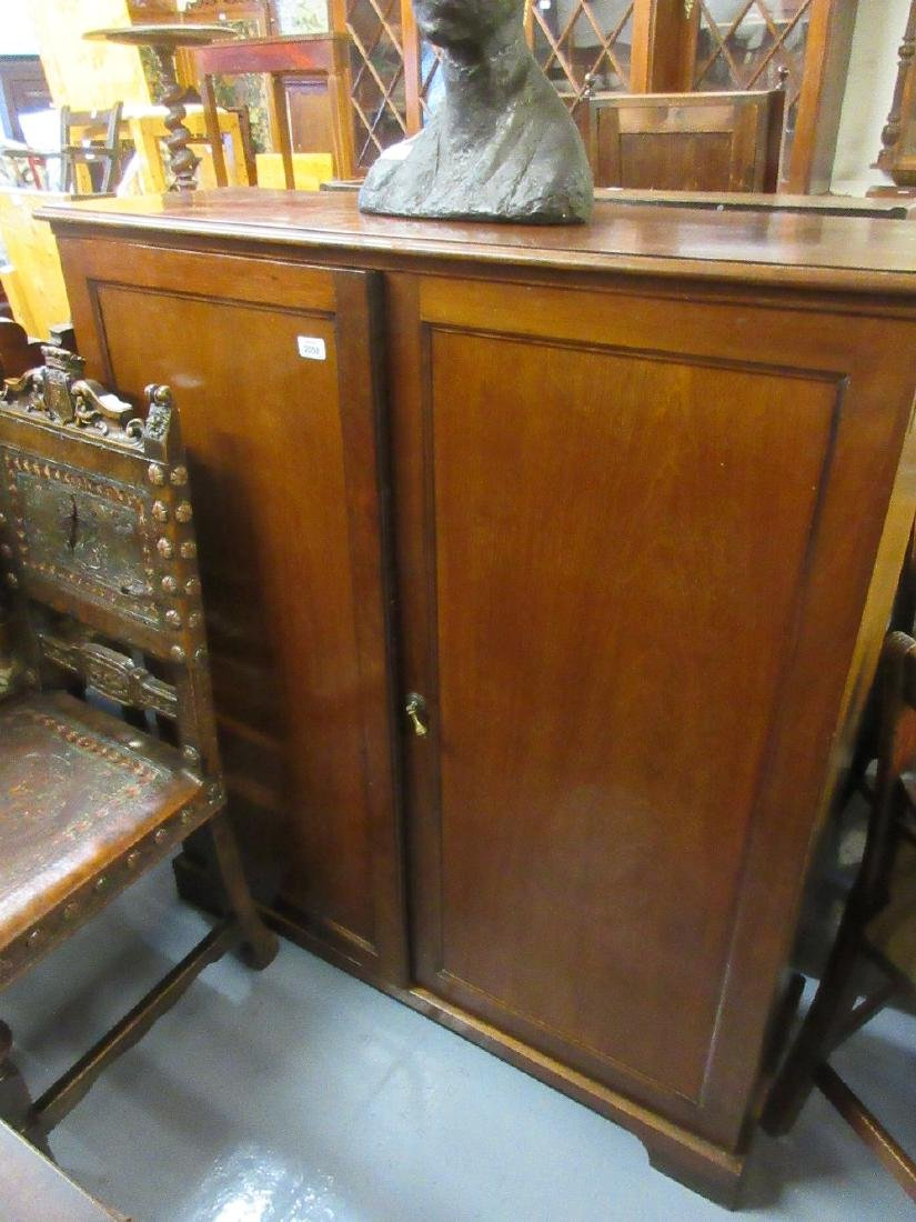 Edwardian mahogany two door shoe cupboard