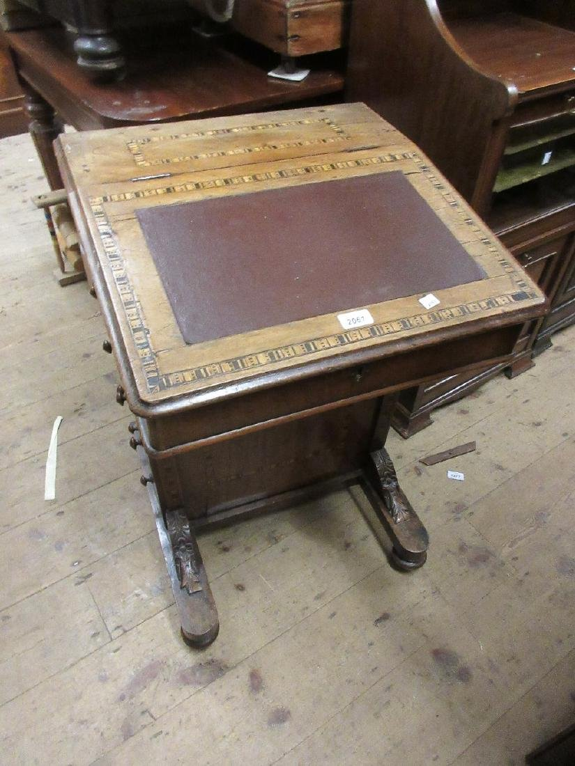 19th Century walnut inlaid Davenport with side drawers