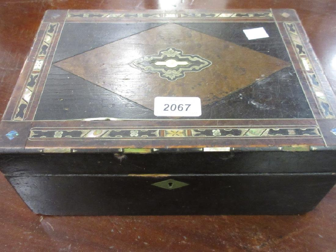 19th Century walnut ebonised and inlaid work box with