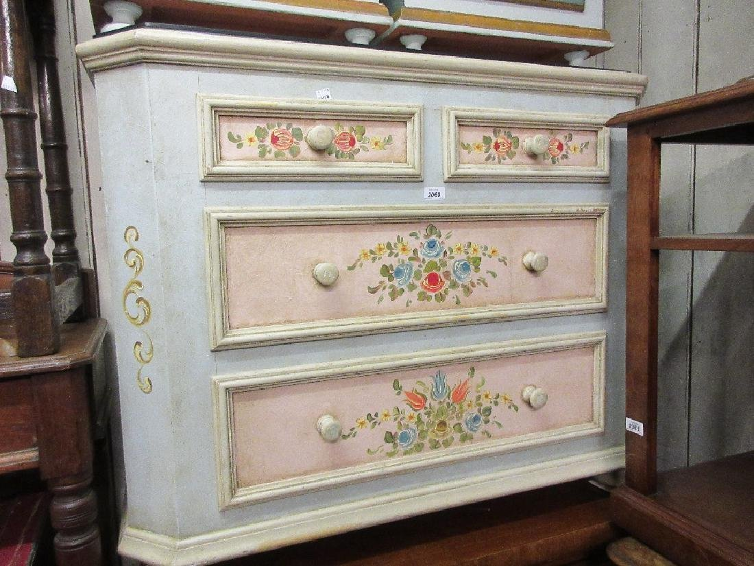 20th Century Continental floral painted chest with a