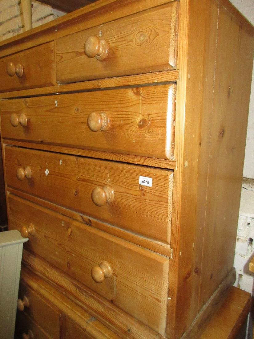 19th Century stripped pine chest of two short and three