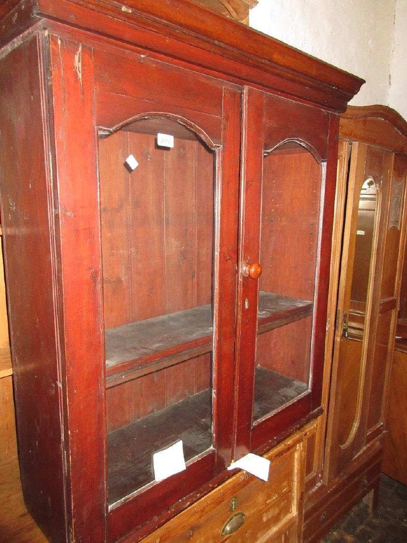 19th Century stained pine bookcase top with two glazed