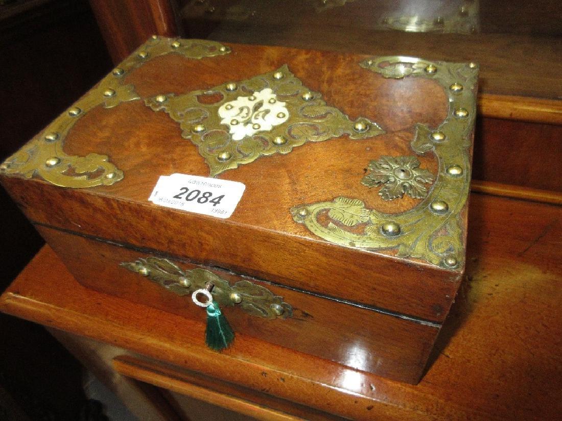 Victorian figured walnut brass strapwork decorated