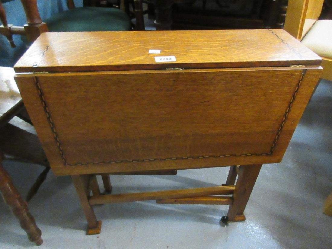 Arts and Crafts inlaid gateleg table together with an