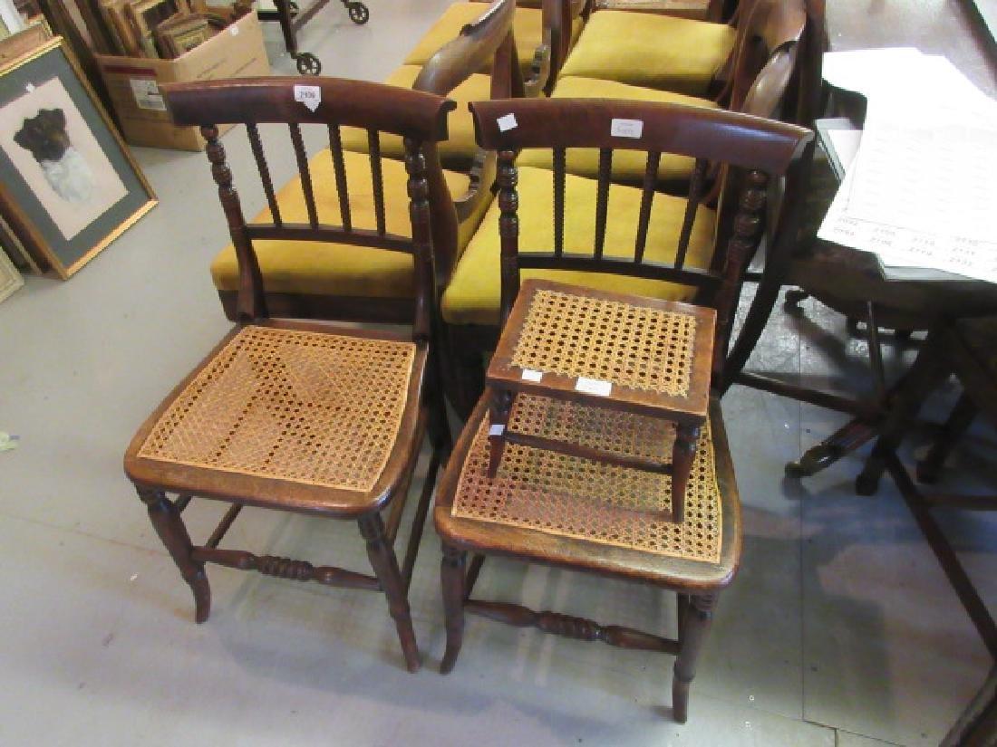 Pair of Regency beechwood spindle back bedroom chairs