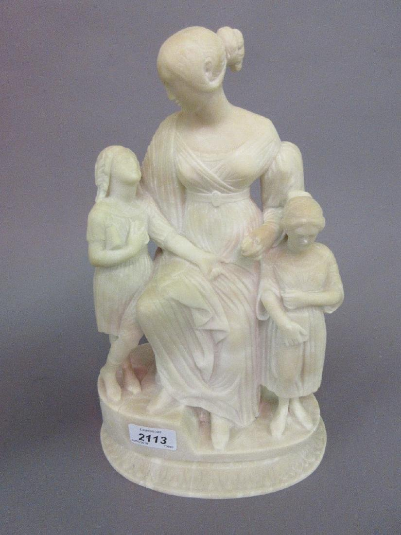 Carved alabaster group of a Victorian mother and two