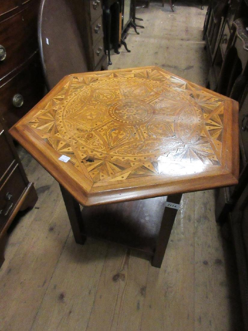 Inlaid hexagonal occasional table, walnut drop-leaf
