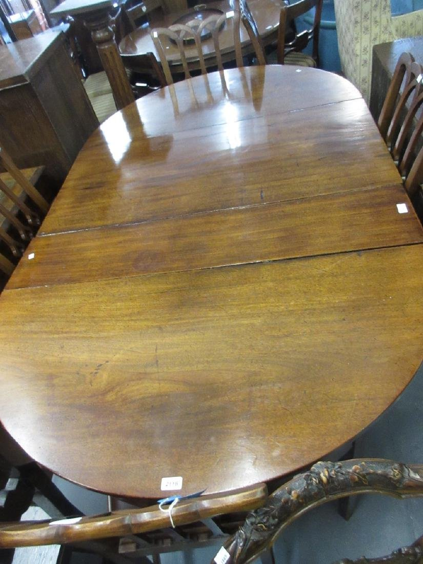 George III mahogany D-end dining table with plain
