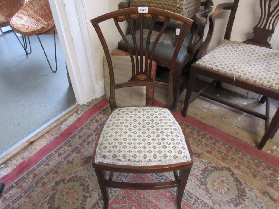 Edwardian mahogany and inlaid side chair, together with