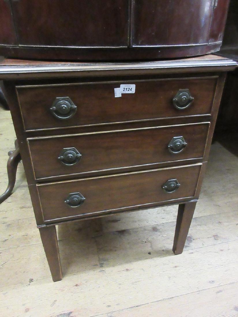 Small Edwardian mahogany three drawer bedroom chest on