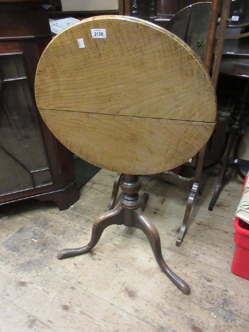 George III circular oak tilt top pedestal wine table on