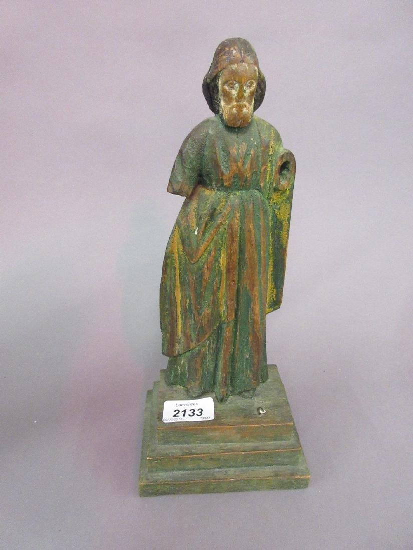 Antique carved wooden figure of a saint with original