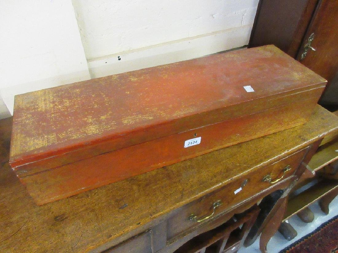 Oriental gilded and red lacquered long rectangular box