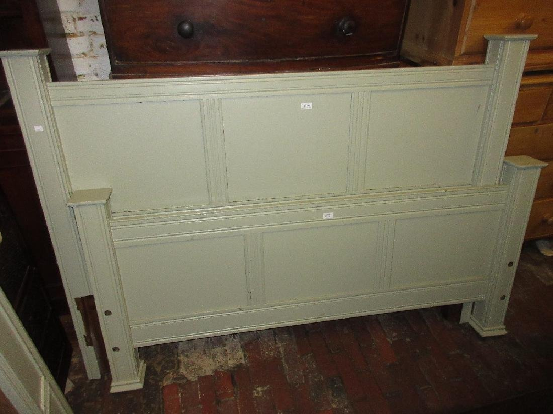 20th Century oak kingsize panelled bed painted in