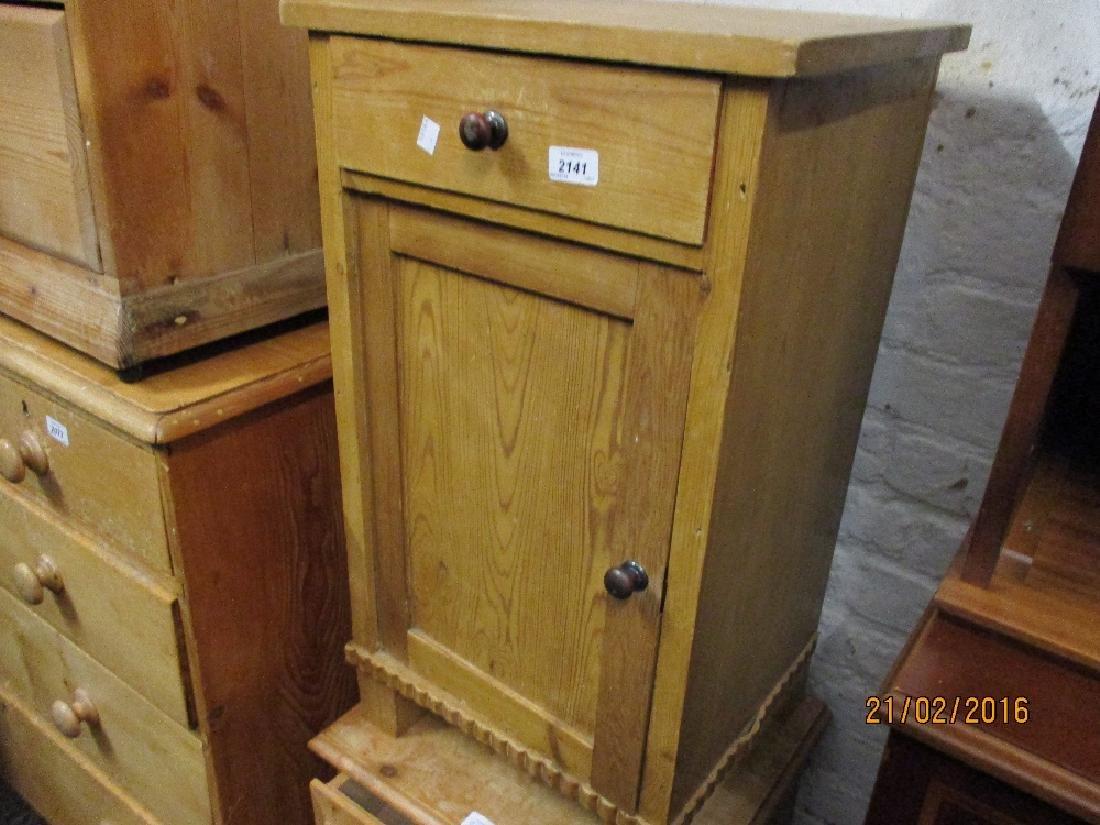 19th Century pine pot cupboard having single drawer