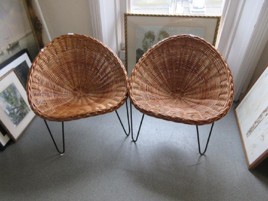 Pair of 20th Century wicker and steel tub shaped chairs