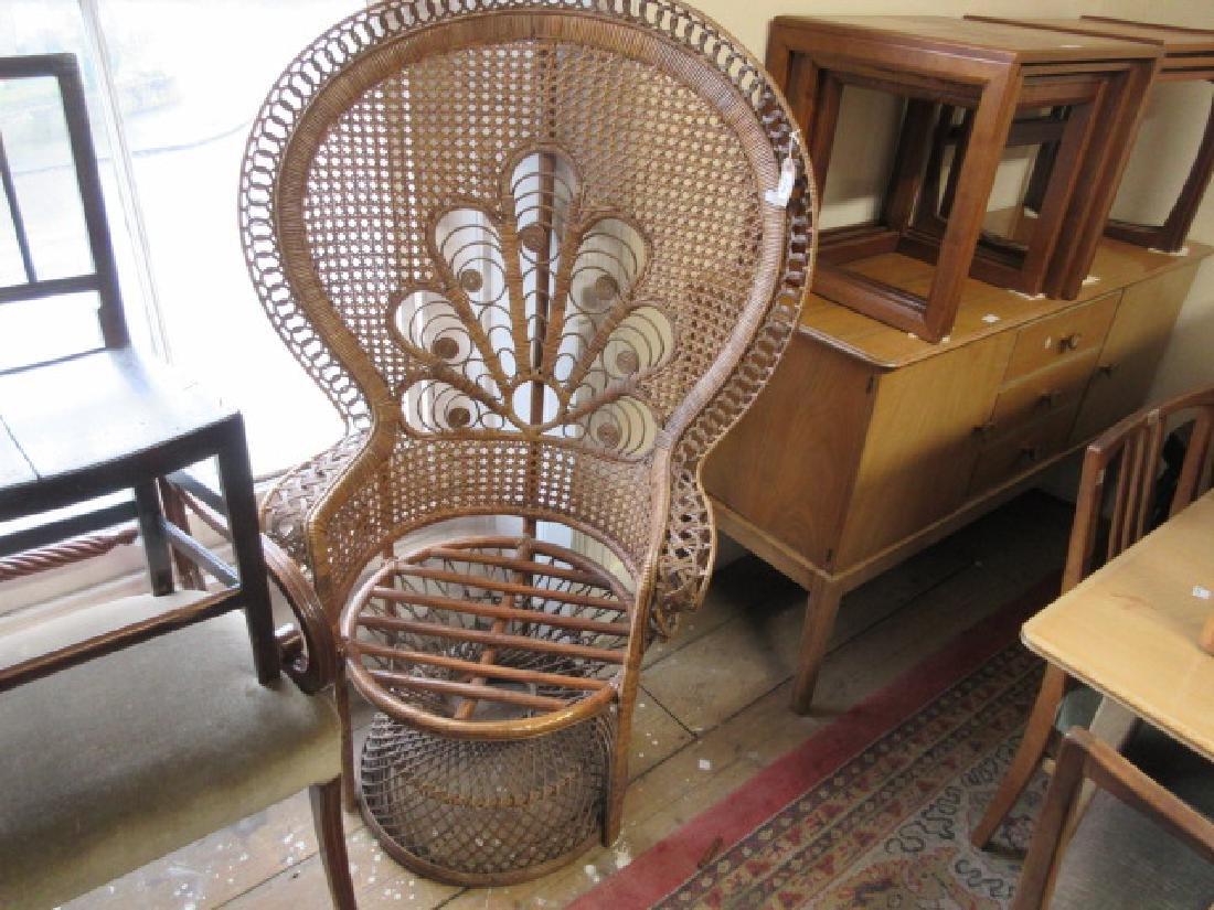 20th Century rattan peacock armchair