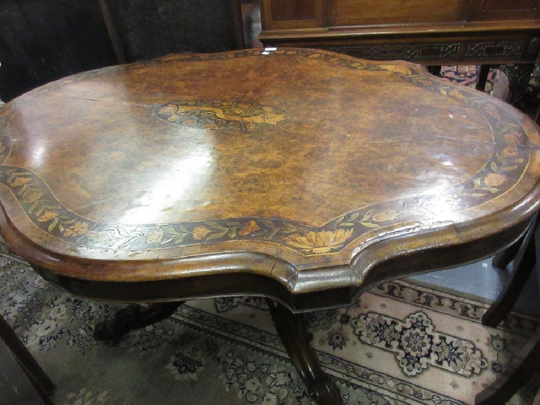 Victorian figured walnut and marquetry inlaid centre