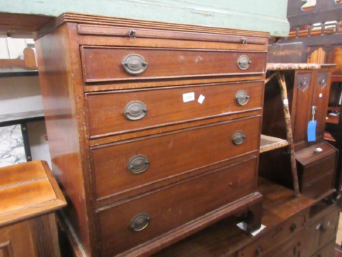 19th Century mahogany dwarf chest, the crossbanded
