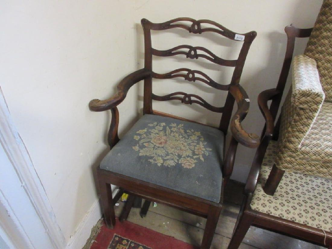 19th Century carved mahogany open armchair in George