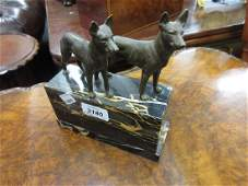 Pair of early 20th Century bronze figures of dogs