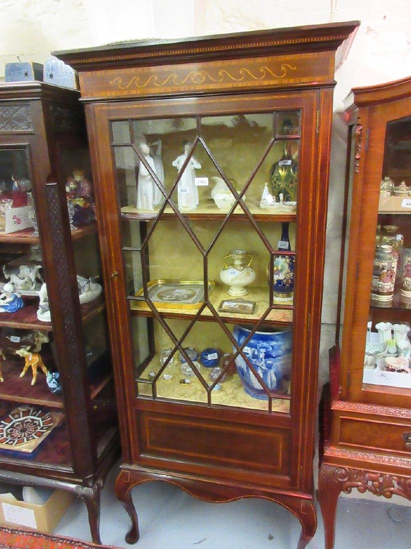 Edwardian mahogany marquetry and line inlaid display
