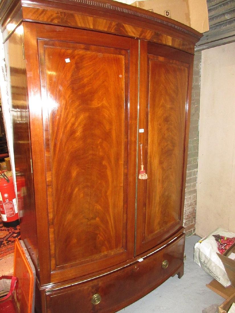 Good quality Edwardian mahogany two door bow front