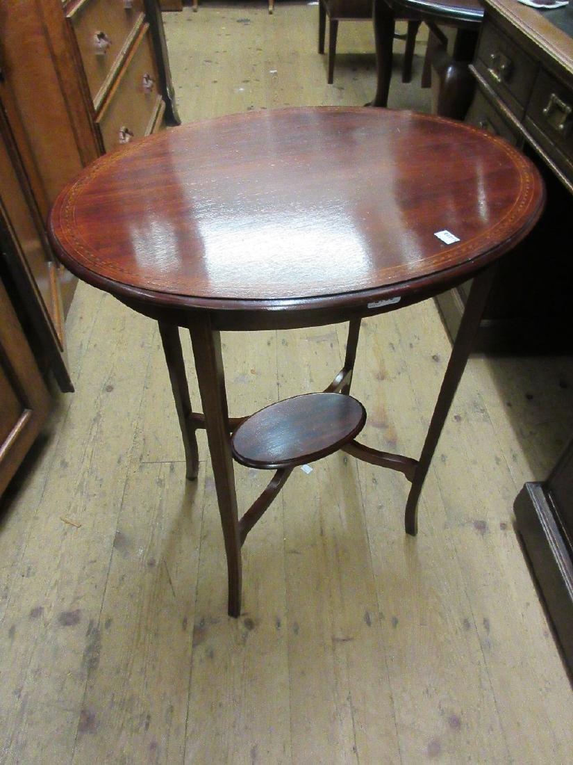 Edwardian oval line inlaid occasional table