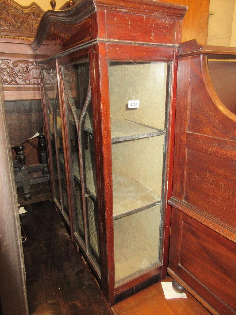 Edwardian mahogany two door display cabinet with
